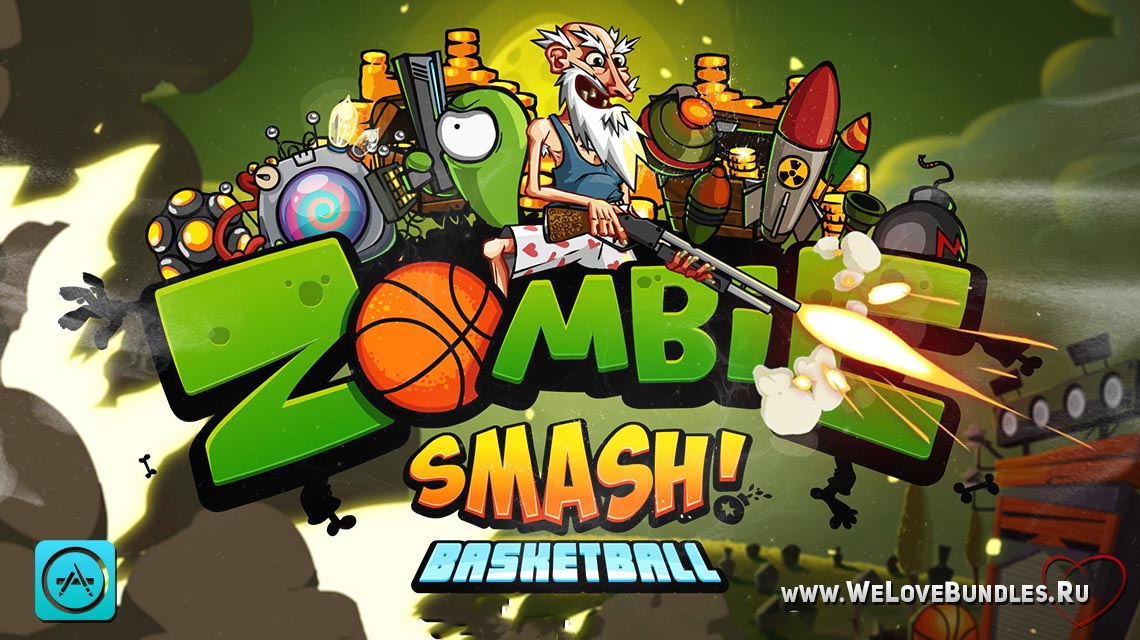 Zombie Smash Basketball game art logo