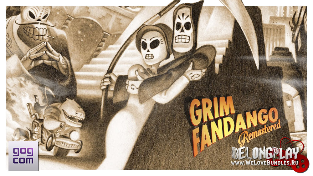 Grim Fandango Remastered logo wallpaper art