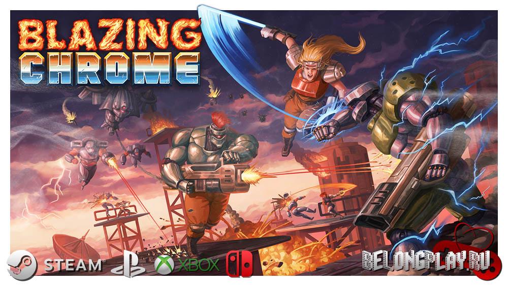 Blazing Chrome Logo Game Art Wallpaper